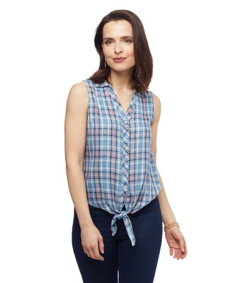 Women's sleeveless button up spring shirt with tie front from the Point Zero collection