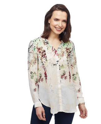 Women's floral printed button up long sleeve shirt from the Amanda Green collection