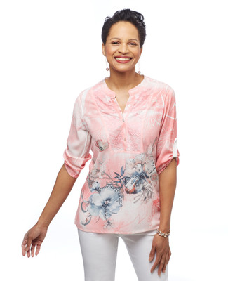 Women's pink floral tie dye shirt from the Point Zero collection
