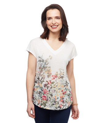 Women's vanilla floral drop shoulder v neck printed blouse from the Amanda Green collection