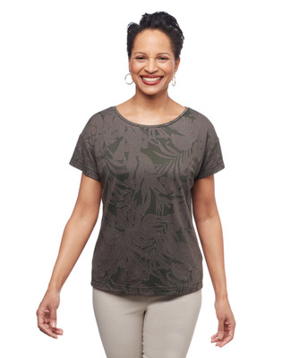 Women's tropical green palm leaf burn out tee from the Amanda Green collection