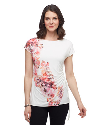 Women's short sleeve floral top with side tie from the Point Zero collection
