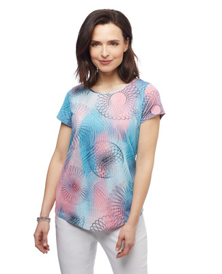 Women's watermelon pink spirograph burn out cut out tee