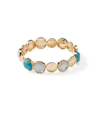 Women's stretch bracelet mixing hammered gold and cracked stone in sky blue and turquoise.
