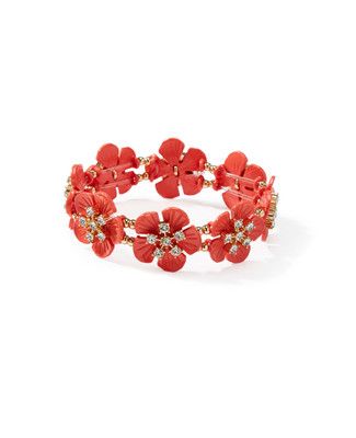 Women's stretch bracelet featuring all-around coral flowers with rhinestones.