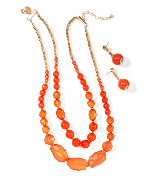 beaded beads lily earring and coral s women gold set bright northern necklace reflections with