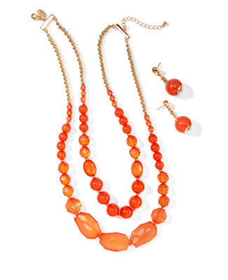 Women's bright, coral beaded necklace and earring set with gold beads.