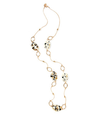 Women's vintage-inspired multi-stone composite bead necklace on a gold chain.