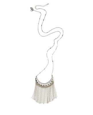 Women's boho-style silver chain necklace with a fringe pendant.
