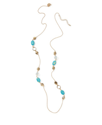 Women's gold chain necklace with intertwined turquoise and hammered gold beads.