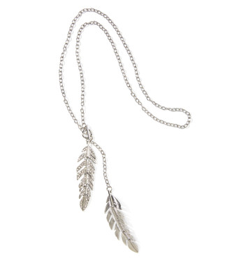 Women's long chain pendant necklace featuring two fern leaf shapes and rhinestones.