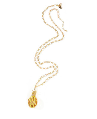 Women's gold chain necklace with pineapple pendant.