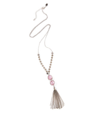 Women's long silver necklace with round silver beads, pink marble stones, and a tassel.