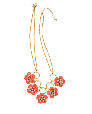 Women's double gold chain statement necklace with coral flowers including rhinestones.