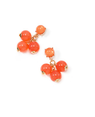 Women's coral earrings with beaded clusters and gold trim.