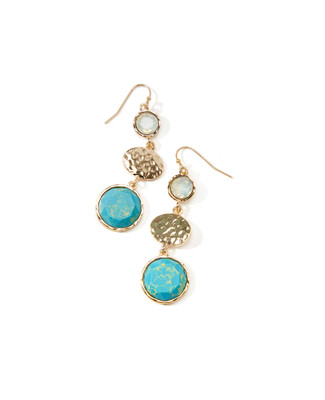 Women's gold and turquoise cracked stone drop earrings.