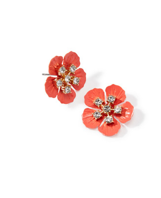 Women's coral stud earrings shaped as a blooming flower, with rhinestones in the middle.