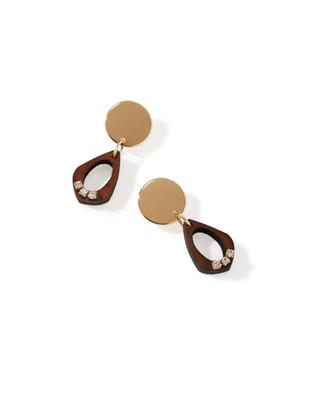 Women's teardrop-shaped wooden drop earrings with rhinestones.
