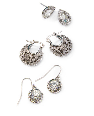 Women's vintage-inspired earrings set in three classic styles.