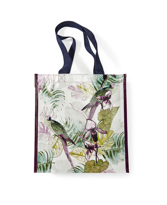 Women's reusable shopping eco bag featuring an exclusively designed tropical print with parrots.