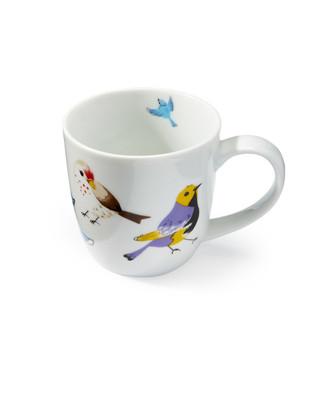 Women's 12 oz porcelain coffee mug with a colourful bird print.