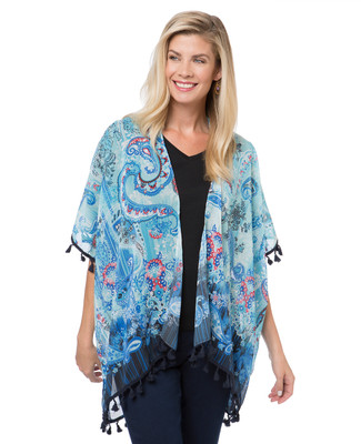Women's blue paisley flower print kimono top for summer.