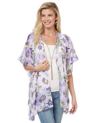 Women's floral kimono-style cover up for summer, featuring a crochet accent in the back.
