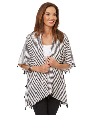 Women's striped cover up shawl with tassel edge.