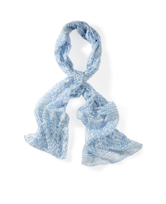 Women's blue and white printed summer scarf.
