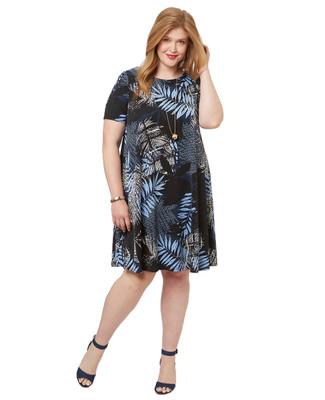 Women's PLUS Collection plus size tropical palm leaf dress