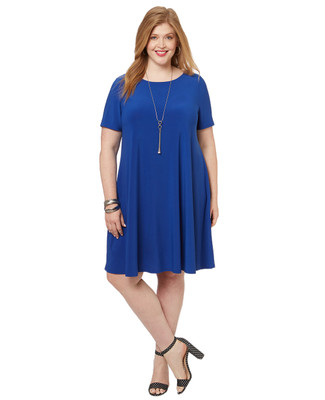 Women's PLUS Collection plus size short sleeve swing dress