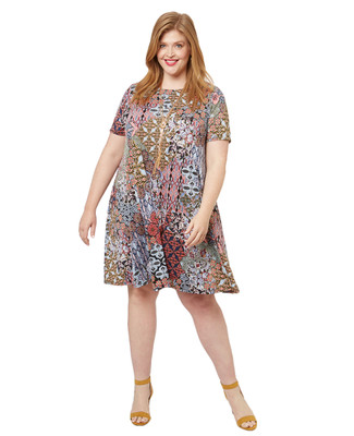 Women's PLUS Collection plus size flowy patchwork dress