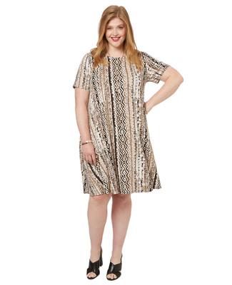 Women's PLUS Collection plus size tribal print dress in parchment