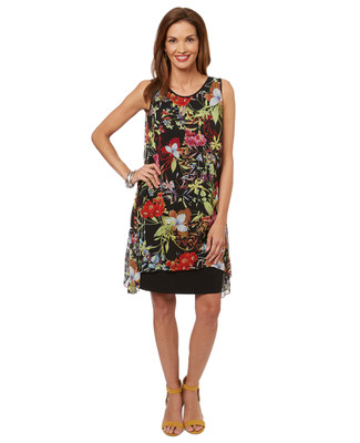 Women's chiffon summer dress in black with a colourful floral print.