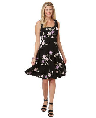 Women's black and floral print dress