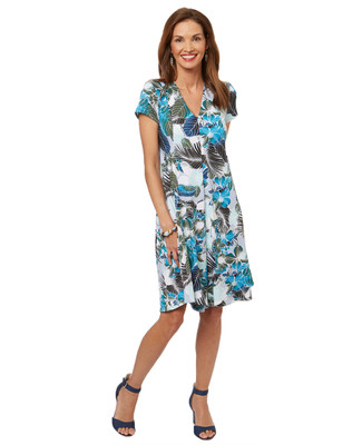 Women's flowy summer dress in an all-over tropical print.