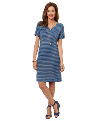 Women's navy blue and white striped v neck dress
