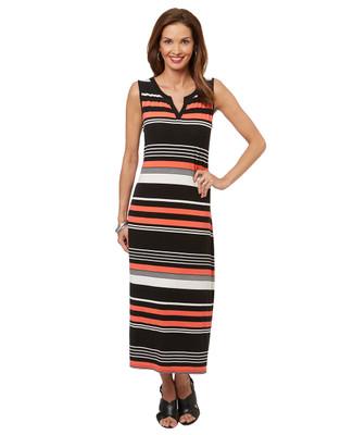 Women's sleeveless summer maxi dress with stripes