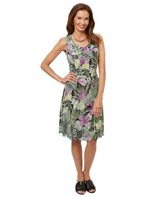 Women's fit and flare dress in a tropical leaf print.
