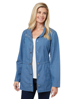 Women's chambray spring jacket with a light denim look