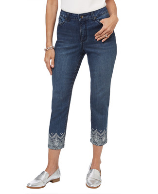 Women's cropped jeans with rhinestone embellished hem.