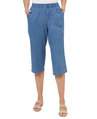 Women's Elastic Waist Chambray Capri Pants