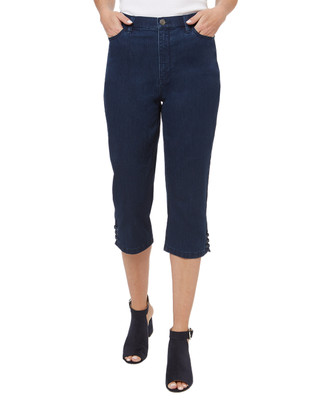 Women's dark wash lace up capri jeans with lace up detail.