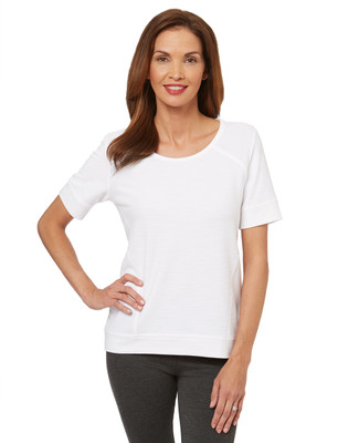 This short sleeve women's popover is a soft and seamless alternative to the classic white t shirt.