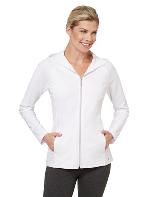 Women's white hoodie top designed for the gym.