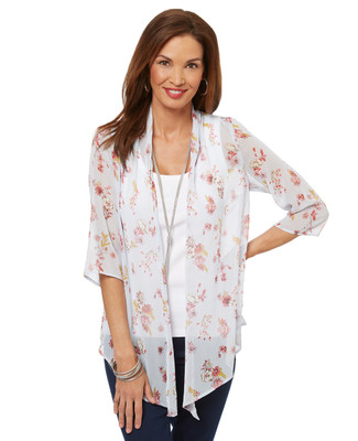 Women's loose-fitting elbow sleeve floral kimono top.