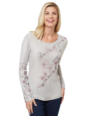 Women's long sleeve tee with floral print.
