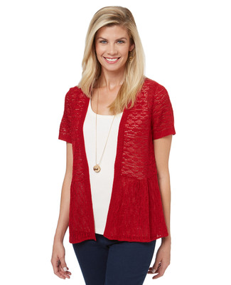 Women's open front cardigan sweater with a peplum silhouette and short sleeves.