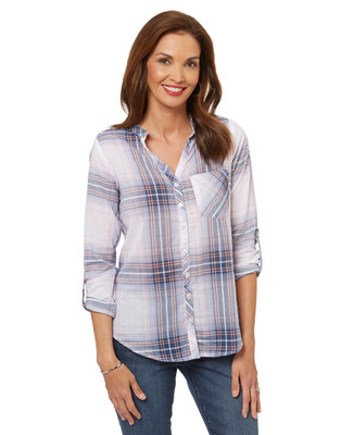 Women's blue plaid t shirt blouse.