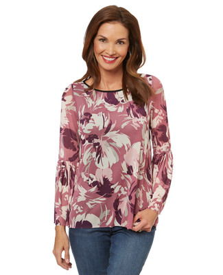 Women's bell sleeve blouse in a mesh floral print.